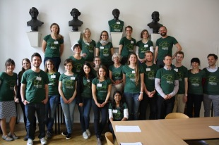 "G.W.F. Hegel (top row, 2nd right) and the entire organizing team proudly sport their ""Knowledge Landscapes"" t-shirts"
