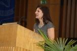 Sarah Wasserman introduces the first keynote speaker