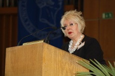 Susanne Rohr introduces keynote speaker Antje Kley on Sunday morning